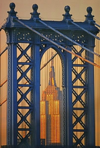 Manhattan Bridge Empire State Building. photo by Mitchell Funk