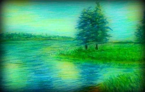 News interessanti veduta di un lago disegno opera for Lago padova