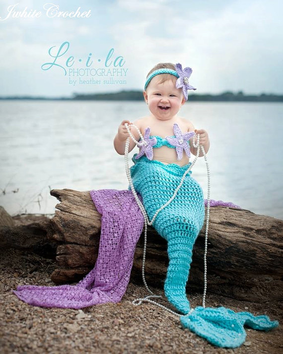 Crochet Baby Mermaid Outfit Chd006 Blue Pikaboo Baby Shop