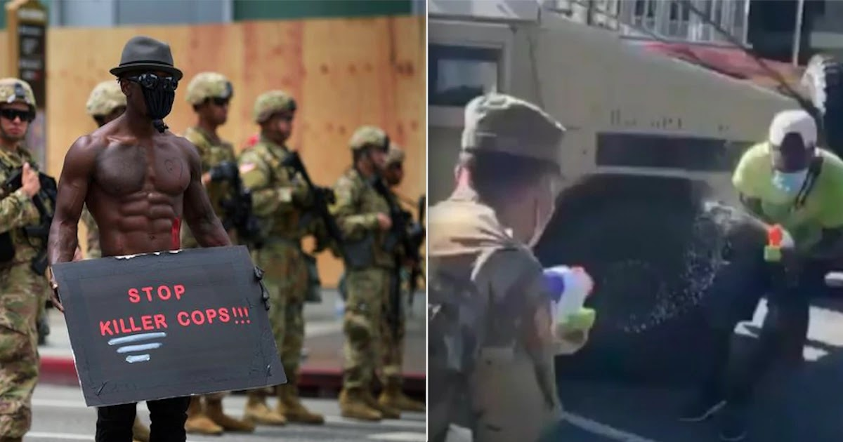 National Guard In DC Filmed Engaging In Water-Fight Play With Protesters - But Some Claim It Is Part Of A Plan To Defeat The Protest Movement