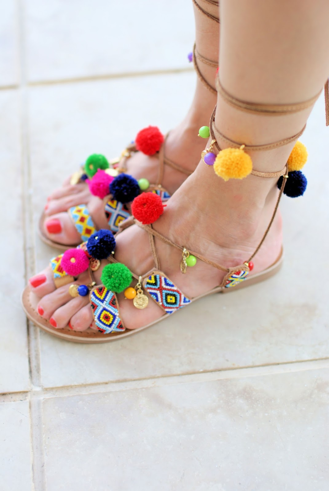 Gioseppo Omahas tie up sandals with charms and pom-poms on Fashion and Cookies fashion blog, fashion blogger style