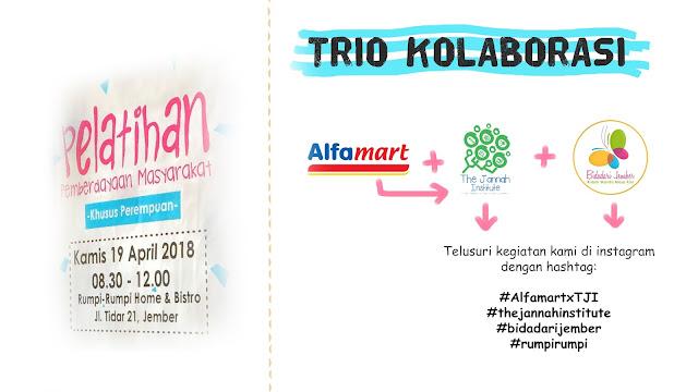 Infografis Trio Kolaborasi Alfamart Jember, The Jannah Institute, dan Bidadari Jember Dalam Pelatihan Pemberdayaan Masyarakat Khusus Perempuan