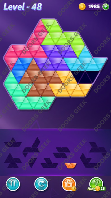 Block! Triangle Puzzle Proficient Level 48 Solution, Cheats, Walkthrough for Android, iPhone, iPad and iPod