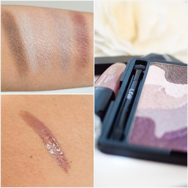 L.O.V, LOViconyx Eyeshadow & Contouring Palette, swatch, lipgloss