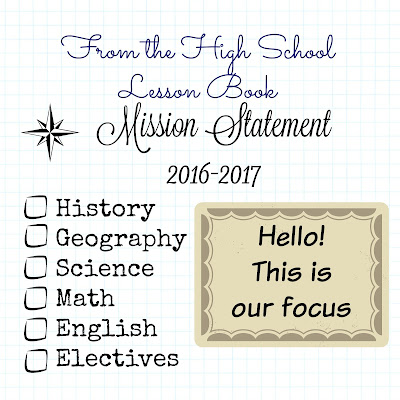 "From the High School Lesson Book - School Scripture - this is how we choose a ""mission statement"" for our homeschool - on Homeschool Coffee Break @ kympossibleblog.blogspot.com"