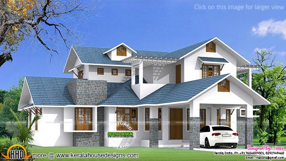 Beautiful blue roof house plan