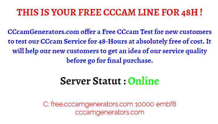 This is your free CCCAM line for 48 hours 2019 - ccca-ma
