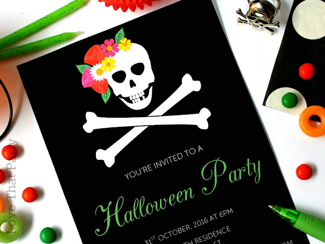 image of skull invitation with flowers black and white floral halloween invitation and party supplies