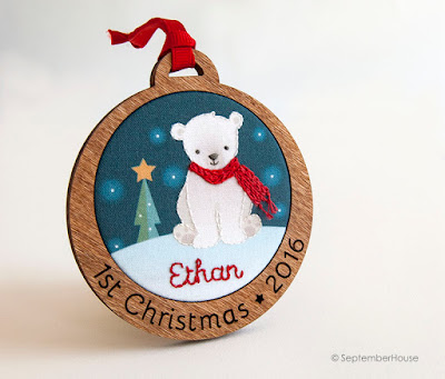 Personalized Baby's First Christmas Holiday Ornament Polar Bear design