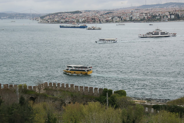 The breathtaking view of the Bosphorus is a must to enjoy before leaving Topkapi Palace in Istanbul, Turkey