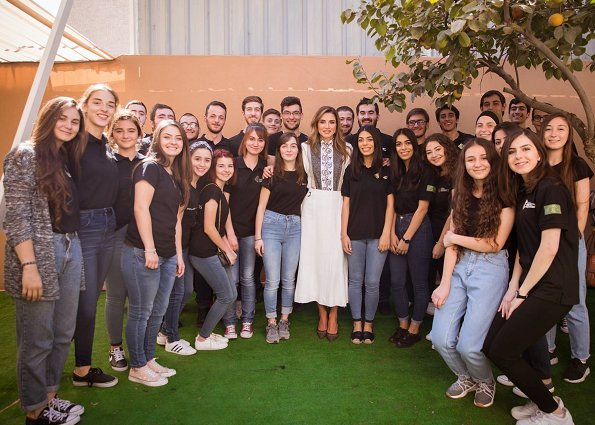 Queen Rania wore Chloe hoop trim contrast panel blouse, Proenza Schouler crepe midi skirt and Dior D-Choc pumps