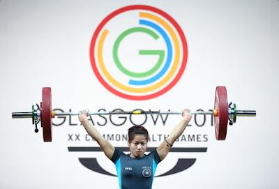 Sanjita Chanu Khumukcham of India winning the Gold