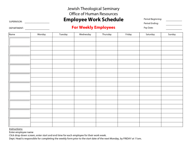 free printable weekly work schedule template - Free Schedule Template