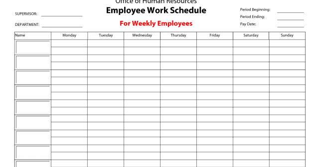 employee work schedule template word