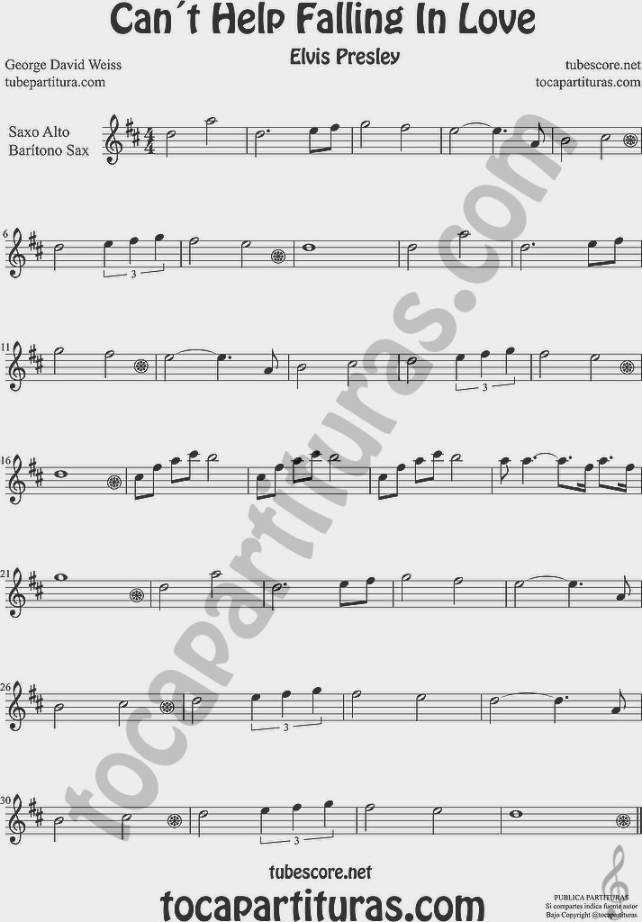 Partitura de Saxofón Alto y Sax Barítono Sheet Music for Alto and Baritone Saxophone Music Scores