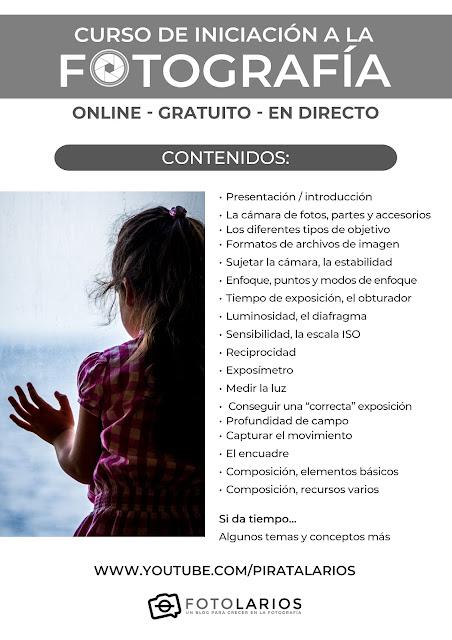 Curso online de iniciación a la Fotografía - CONTENIDOS