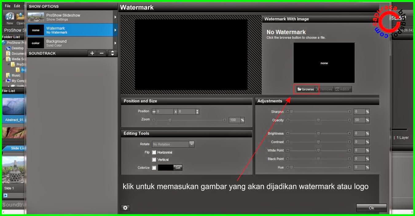 cara memasang watermark di video