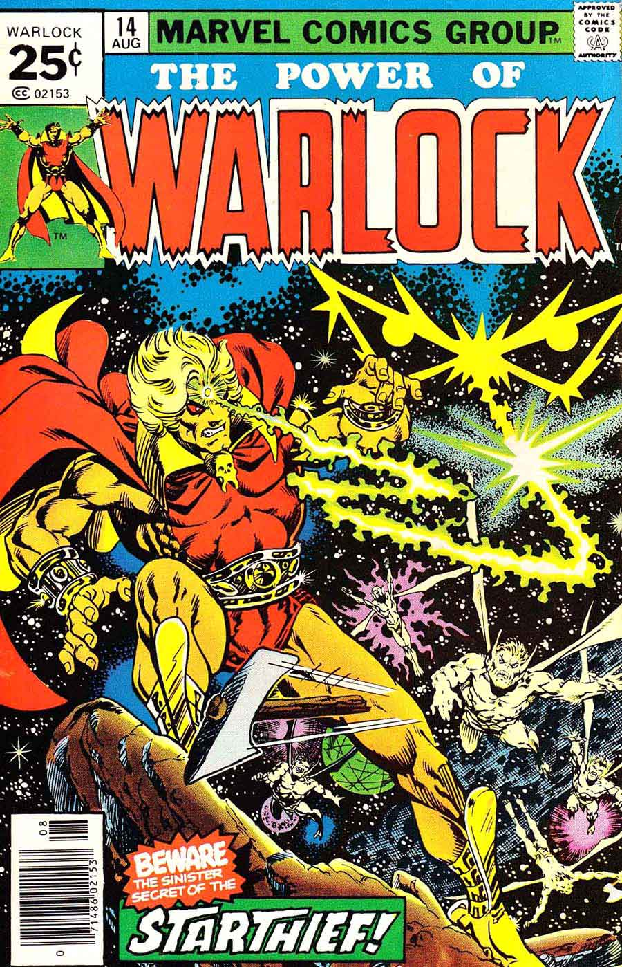 Warlock v1 #14 marvel 1970s bronze age comic book cover art by Jim Starlin