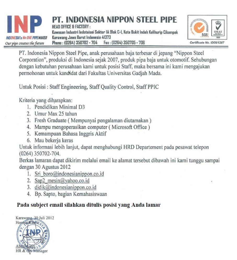 Mari Berbagi: PT. INDONESIA NIPPON STEEL PIPE