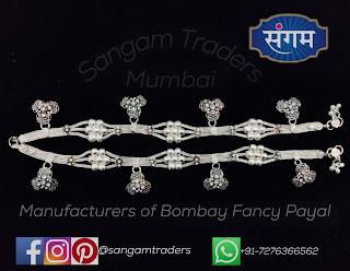 latest fancy silver anklet for girls