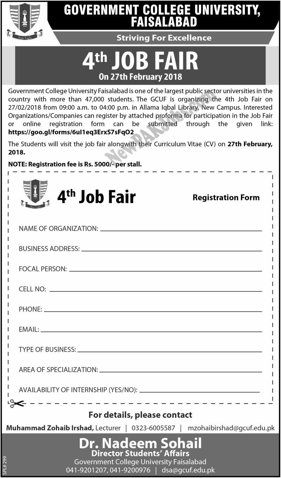 4th Jobs Fair in GC University Faisalabad Last Date 27 February 2018, Form Submit