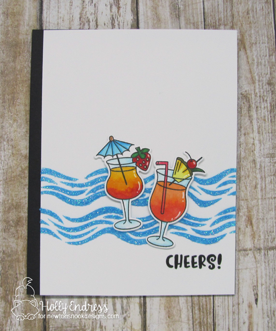 Cheers! Cocktail Card by Holly Endress | Cocktail Mixer Stamp Set and Waves Stencil by Newton's Nook Designs #newtonsnook