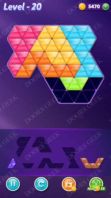 Block! Triangle Puzzle Intermediate Level 20 Solution, Cheats, Walkthrough for Android, iPhone, iPad and iPod