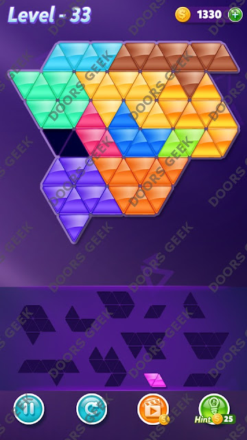Block! Triangle Puzzle Challenger Level 33 Solution, Cheats, Walkthrough for Android, iPhone, iPad and iPod
