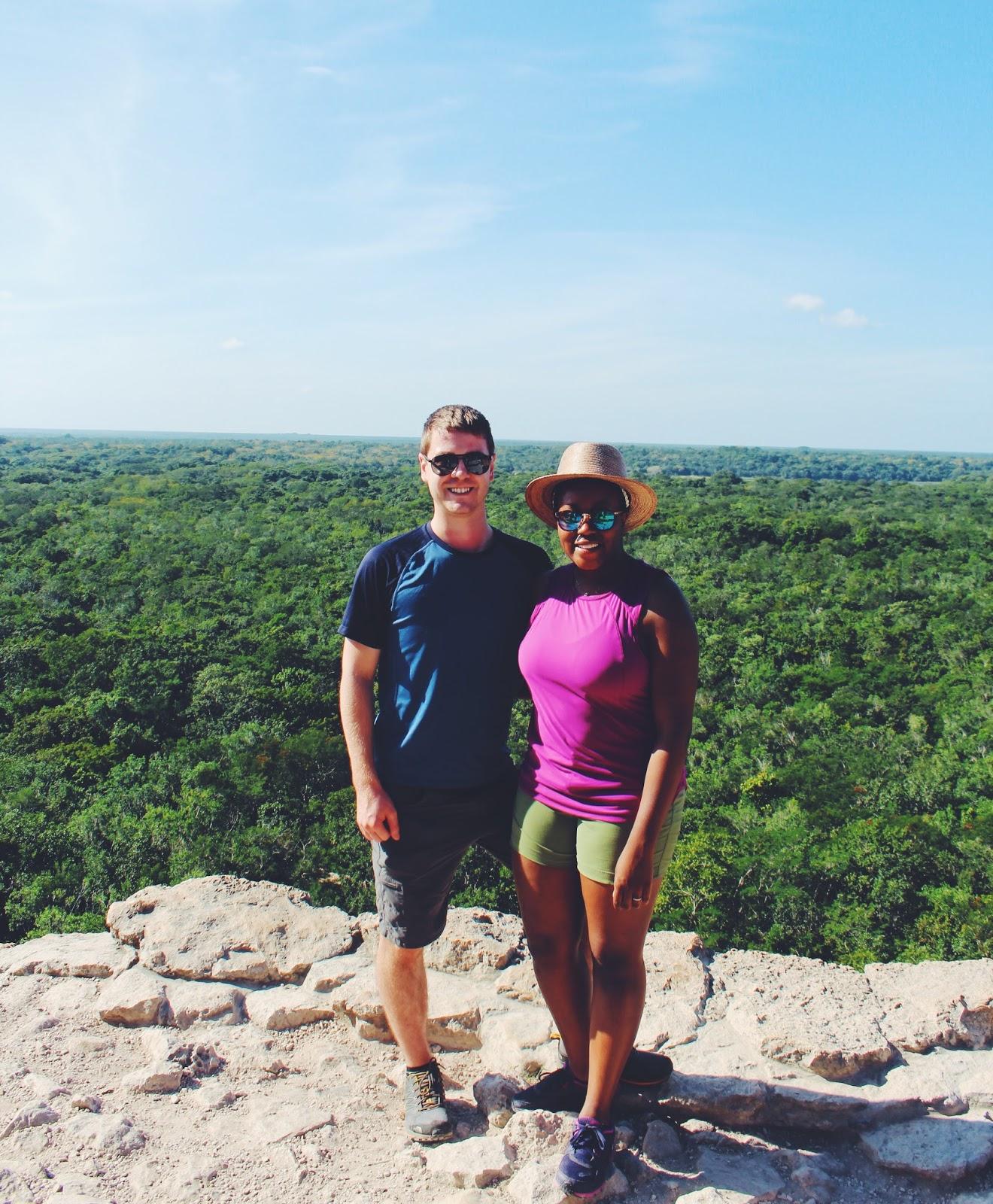 climbing coba maya ruins