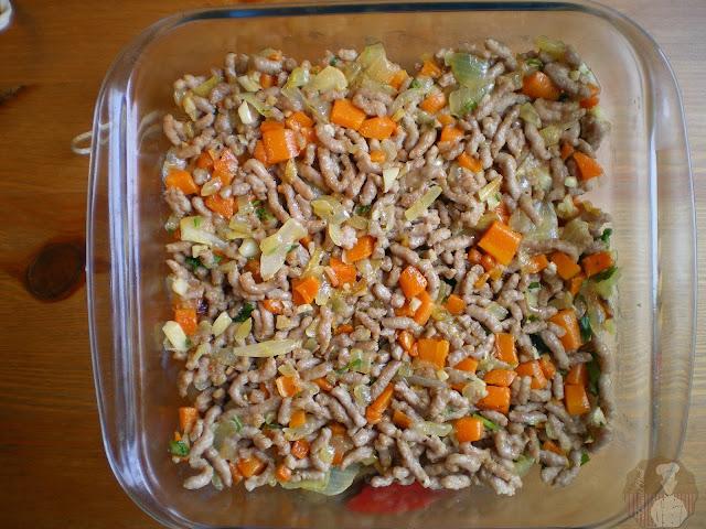 Hachis Parmentier , base con sofrito de carne y verduras
