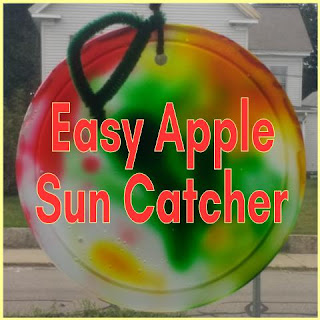 Easy Apple Sun Catcher Craft: finished project hanging in the window