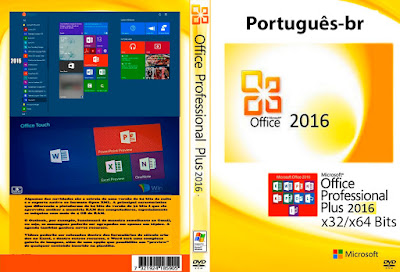 Microsoft Office 2016 x32/x64 Bits PT-BR Full ISO Completo+Ativador DVD Capa