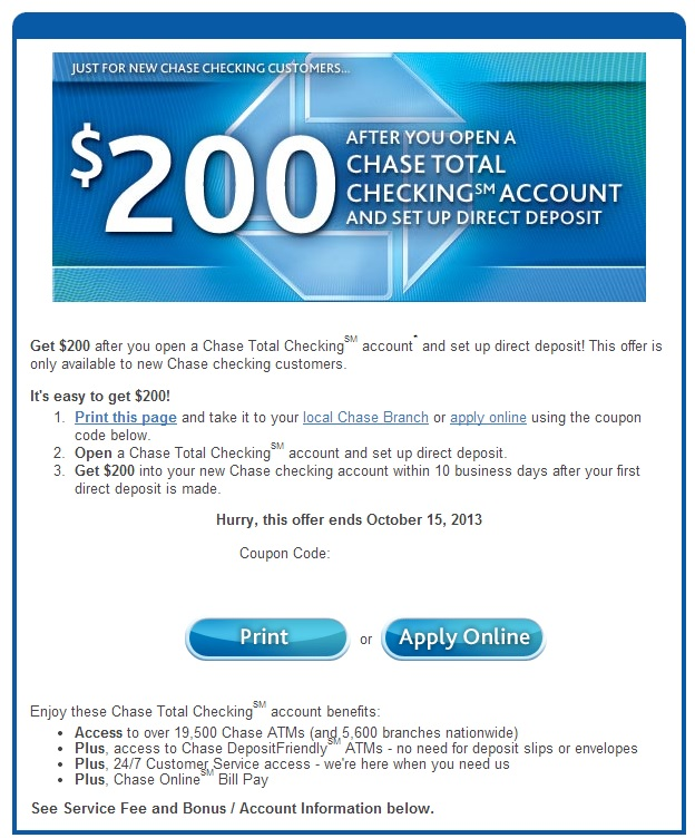 Green Espirit: Chase $125, $150, $200 Checking Bonus