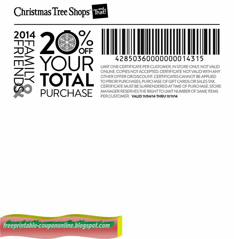 Christmas Tree Shops doesn't only sell Christmas trees and decor. They carry a wide array of furniture, home decor, and seasonal gifts, to affordable kitchen items, serveware, and party decorations. While prices are always very competitive, you can always find Christmas Tree Shops coupons, promo codes, and in-store offers at DealsPlus for the.