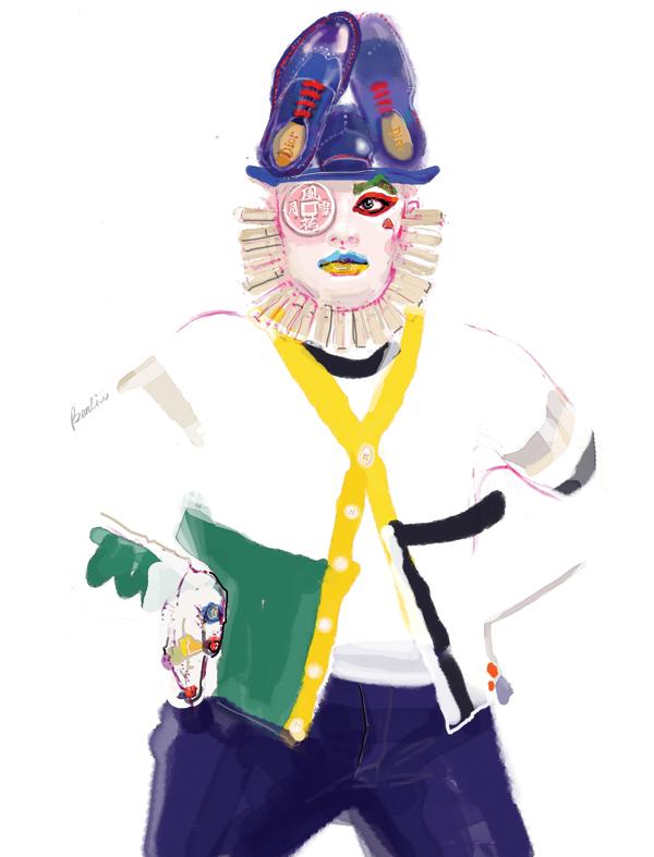 Leigh Bowery fashion illustration