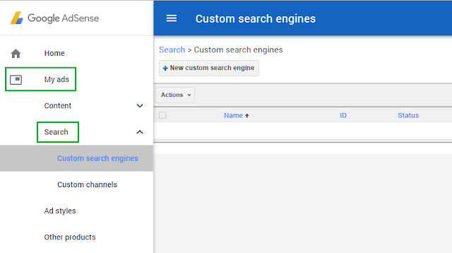 Fitur search di akun adsense (custom search engine adsense)