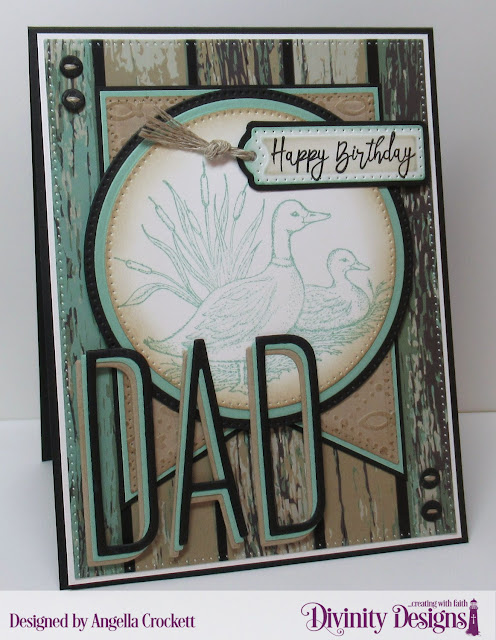 Divinity Designs LLC Best Dad Ever, Custom Dies: Long and Lean Letters, Treat Tags, Large Banners, Pierced Rectangles, Pierced Circles, Circles, Couture Collection; Fish Embossing Folder; Weathered Wood Paper, Card Designer Angie Crockett
