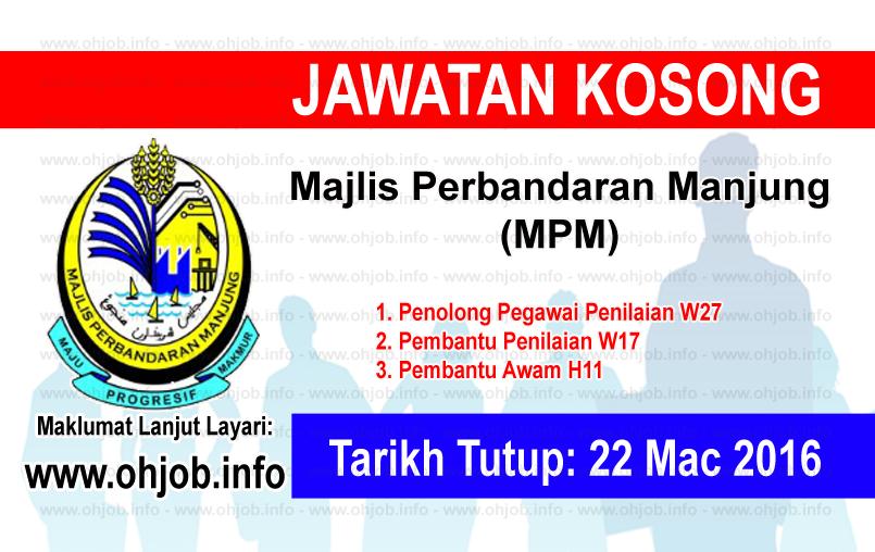Jawatan Kerja Kosong Majlis Perbandaran Manjung (MPM) logo www.ohjob.info mac 2016