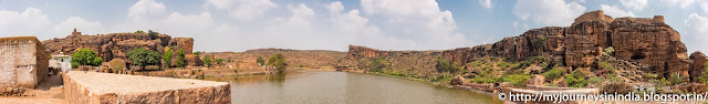Badami Agastya Lake and Bhootnat Temple Panorama