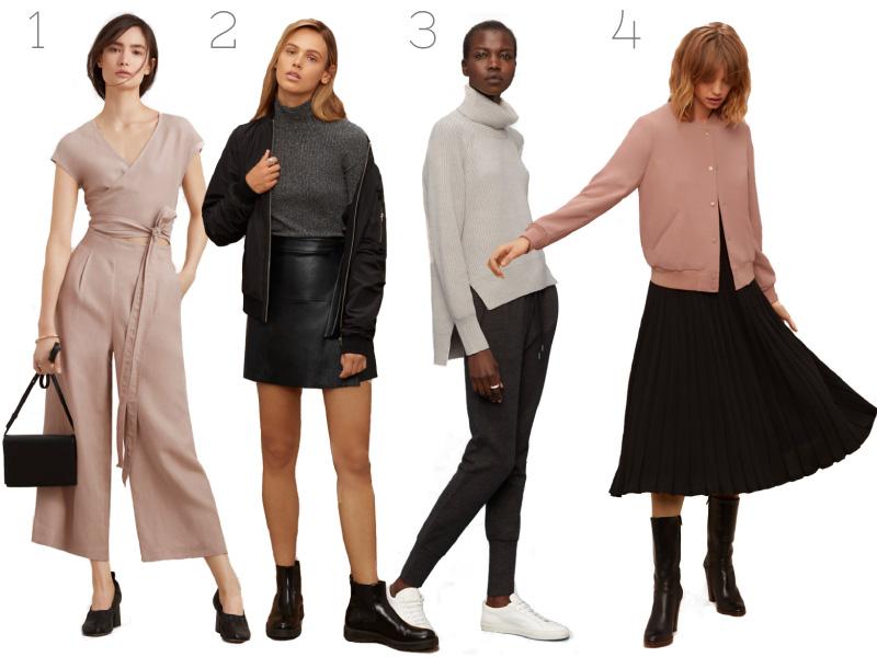 Aritzia, Fashion, Blogger, Jumpsuit, Leather mini skirt, knitwear, Womens fashion