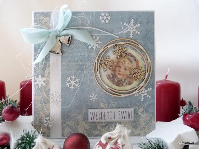 kartka ze śniezynkami i scrapkiem-dzwonkiem