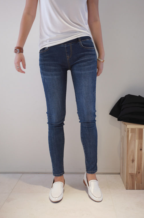 Banded Waist Skinny Jeans