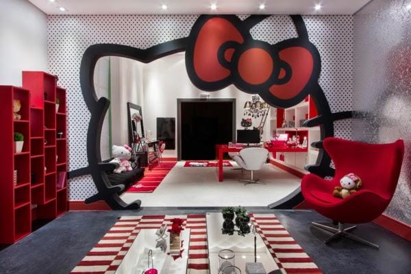 Decoraci n de interiores con hello kitty colores en casa for Comedor negro con rojo
