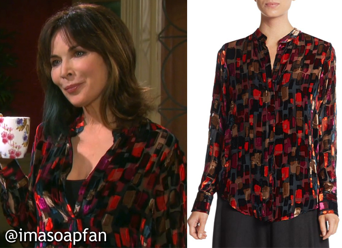 Kate Roberts, Lauren Koslow, Days of Our Lives, Multicolored Block Print Blouse, Alice + Olivia