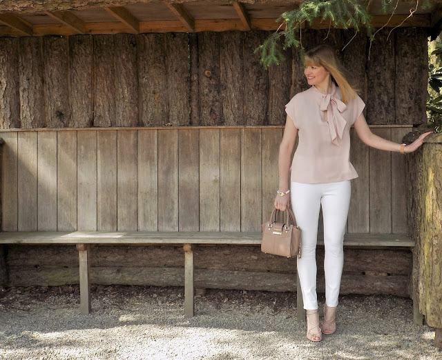 Pink pussy bow blouse and Hope fashion chalk anle grazers