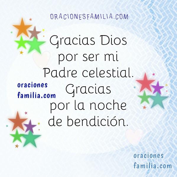 Oración corta de la noche, descansar, dormir en la noche,  orar antes de dormir, oraciones en imágenes cristianas por Mery Bracho