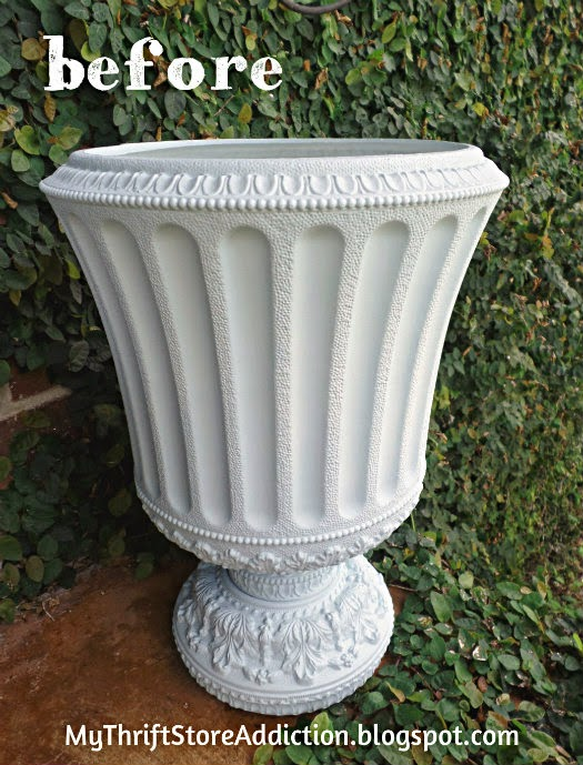 Upcycled chalk painted garden urn
