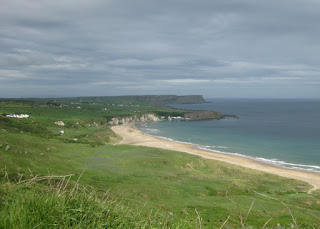 Beach and chalk cliffs, facing west, White Park Bay, Northern Ireland