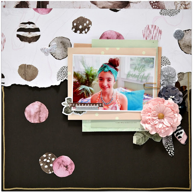 Black White and Pink Scrapbook Layout with Feathers and Flowers