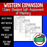 American History I Cans, Student Self-Assessment of Mastery, Western Frontier